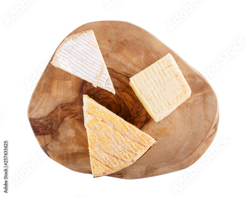 Pieces Of Soft French Cow S Milk Cheese On A Cutting Board Isolated On White Top View Camembert Livarote Pont L Eveque Cheese From Normandy Stock Photo Adobe Stock