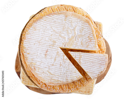 Stack Of Soft French Cow S Milk Cheese On A Cutting Board Isolated On White Top View Camembert Livarote Pont L Eveque Cheese From Normandy Stock Photo Adobe Stock
