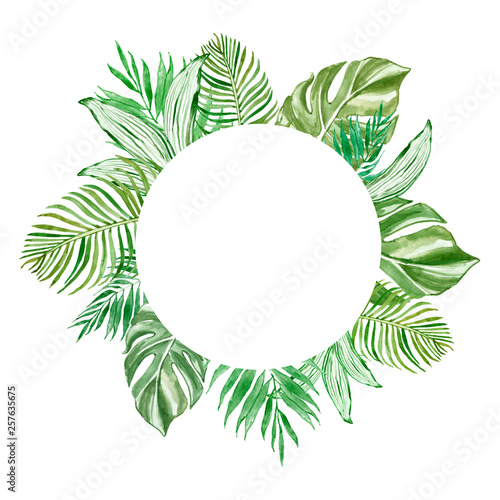 Watercolor tropical leaves round banner  with space for text, isolated on white background. Green exotic plants illustration. For invitations, cards, wedding design, banners, blogs. Fototapete