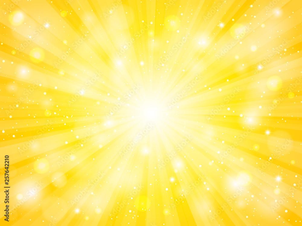 Fototapety, obrazy: 黄色 放射状 光 キラキラ 背景