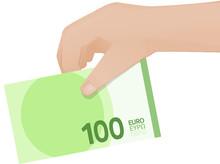 Billet De 100 Euros à La Main