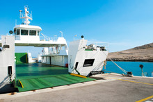Car Ferry Boat In Croatia Linking The Island Rab To Mainland With Open Ramp, Waiting For Boarding.