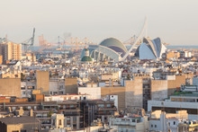Skyline View Of Landmarks Of Valencia, Spain. Colorful Urban Architecture Of European City.