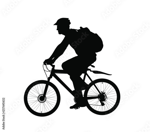 Male bicyclist riding a bicycle vector silhouette isolated on white background. Sportsman in race illustration. Biker Giro tour competition. Man riding bicycle with backpack and helmet. Boy on bike.  Wall mural