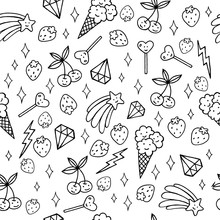 Cute Food, Diamonds And Stars - Coloring Page With Seamless Pattern. Doodle Design Art. Vector Artwork