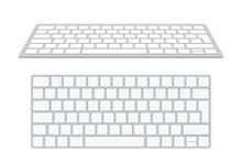 Modern Aluminum Computer Keyboard Isolated On White Background. Vector Illustration.