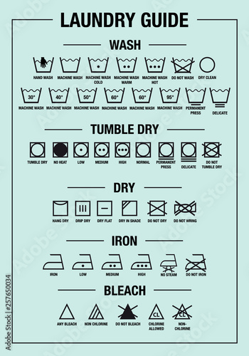 Fotografia laundry guide, washing, care signs, textile symbols, vector graphic design eleme