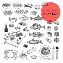Illustration Set Of Asian Food...
