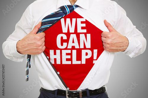 Beratung Konzept We can help als Slogan auf Shirt Wallpaper Mural