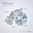 Northern Ireland vector map with infographic elements, pointer marks.