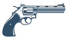 Revolver Gun Vector Illustration, Detailed Handgun Isolated On White Background.