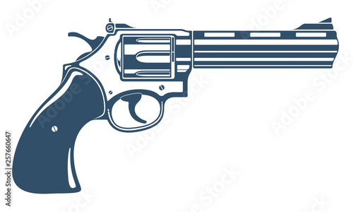Obraz na płótnie Revolver gun vector illustration, detailed handgun isolated on white background