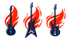Electric Guitar On Fire, Hot Rock Music Guitar In Flames, Hard Rock Or Rock And Roll Concert Or Festival Labels, Night Club Live Show, Vector Logos Or Emblems Set.