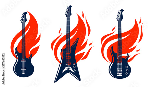 Photo Electric guitar on fire, hot rock music guitar in flames, Hard Rock or Rock and Roll concert or festival labels, night club live show, vector logos or emblems set