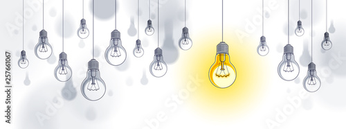 Fotografie, Obraz  Idea concept, think different, light bulbs group vector illustration with single one is shining, creative inspiration, be special, leadership