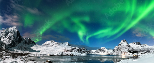Aurora borealis landscape Canvas Print