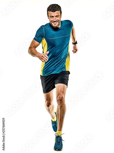 Fotografía one caucasian handsome mature man running runner jogging jogger isolated on whit