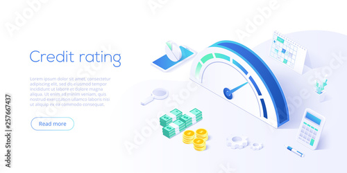 Fotomural Credit score or rating concept in isometric vector illustration