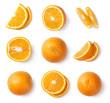 Orange slices, whole orange, half of orange isolated on white background. Top view.
