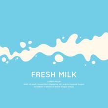 Modern Poster Fresh Milk With Splashes On A Light Blue Background. Vector Illustration
