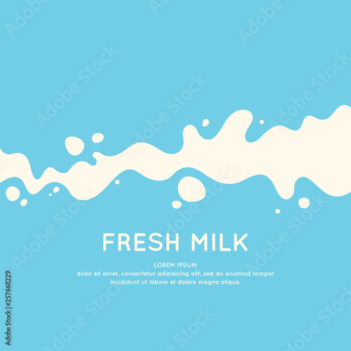 Carta da parati Modern poster fresh milk with splashes on a light blue background