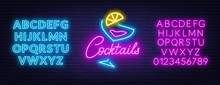 Neon Lettering Cocktails On Br...