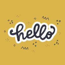 Hello Hand Lettering Inscription