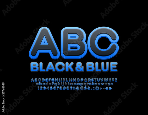 Vector modern Black and Blue trendy Font  Stylish Alphabet Letters