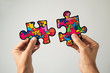 canvas print picture - puzzle pieces, symbol of the autism awareness