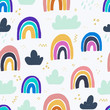Rainbows childish seamless pattern