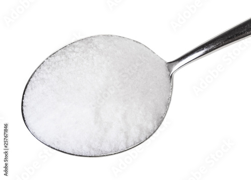Obraz na plátne top view of tablespoon with fine Sea Salt close up