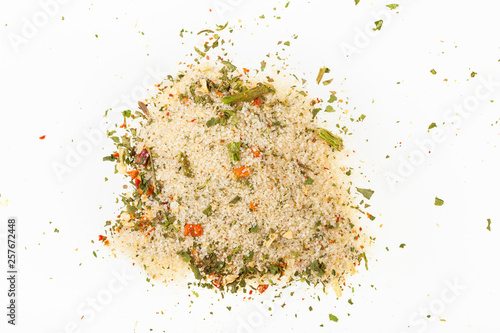 top view of pile of seasoned salt with vegetables Canvas Print