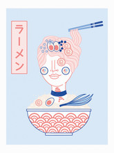 Abstract Japanese Noodle Ramen Girl Illustration