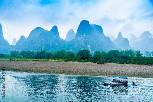 Foto op Canvas Guilin Landscape with river and mountains