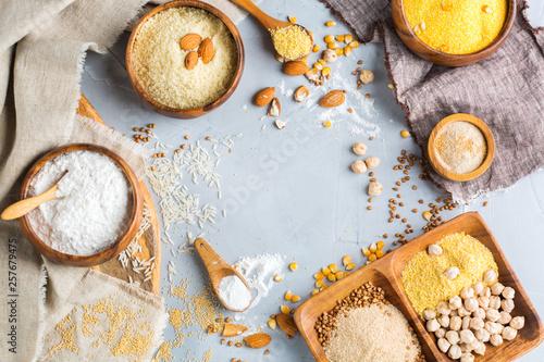 Fotografie, Obraz  Gluten free almond, corn, rice, buckwheat and chickpea flour