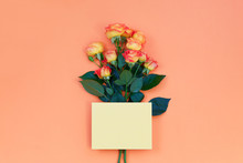 Blank Pink Paper Card For Valentine's Or Mother Woman Day And Beautiful Fresh Vivid Orange Roses On Orange Background, Copy Space.