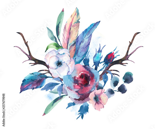 Leinwandbilder - Vintage Watercolor Bouquet of Roses, Anemones, Feathers, Horns and Wildflowers