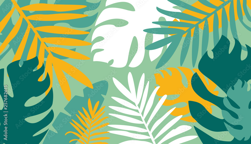 Modern horizontal natural abstract colorful backdrop with tropical leaves and scribble on green background. Bright colored decorative vector illustration in trendy artistic style