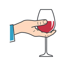 Hand Hold Wine. Male Hand Holding Wine Glass