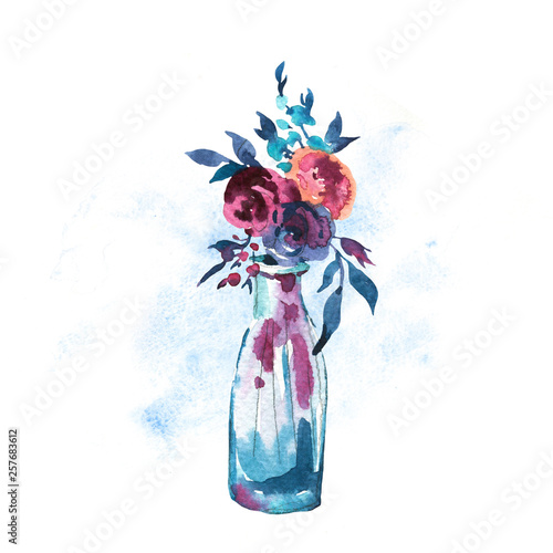 Leinwandbilder - Watercolor Hand painted bottle with red roses isolated on white background