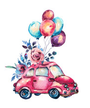 Watercolor Fantasy Greeting Card With Cute Red Car And Air Balloons