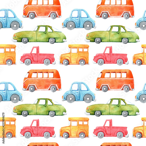 Foto op Aluminium Cartoon cars Watercolor seamless pattern with cartoon car. Funny cartoon image. Travel conception. Hand painted retro car pattern. Watercolor vintage white background. . Multicolor car texture.