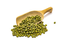 Mung Beans On A Wooden Spoon Seen Obliquely From The Side In A Slanted Angle And Isolated On White Background