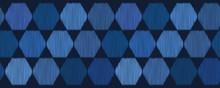Indigo Blue Hand Drawn Hexagon Graphic Seamless Border Pattern. Sketchy Harlequin Vector Illustration. Modern Edging Band Graphic Design. Monochrome Masculine Denim Home Decor Textile Ribbon Trim