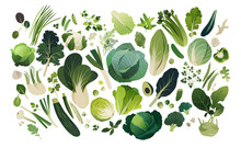 Vegetables And Herbs Background Isolated On White, Leafy Greens Template Background