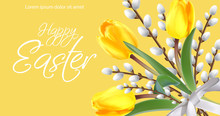 Happy Easter Card With Yellow ...