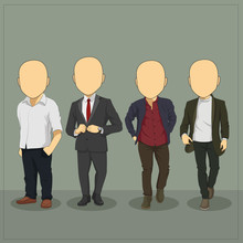 Caricature Casual Man Body Template