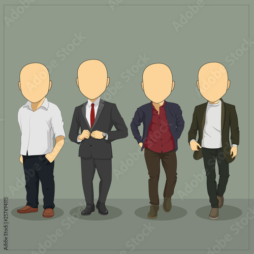 Photo  Caricature Casual Man Body Template