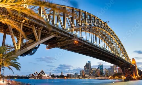 Sydney Harbor Bridge at night, city symbol, Australia © jovannig