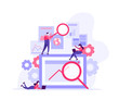 Flat illustration design of workers data analysis solution or search engine for website page templates, banner , graphic and web design, SEO, . Modern vector and mobile website development.